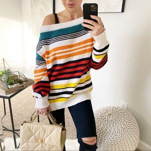Rosie Assoulin Striped Off The Shoulder Sweater